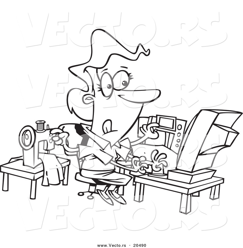 vector of a cartoon woman sewing and working at the same