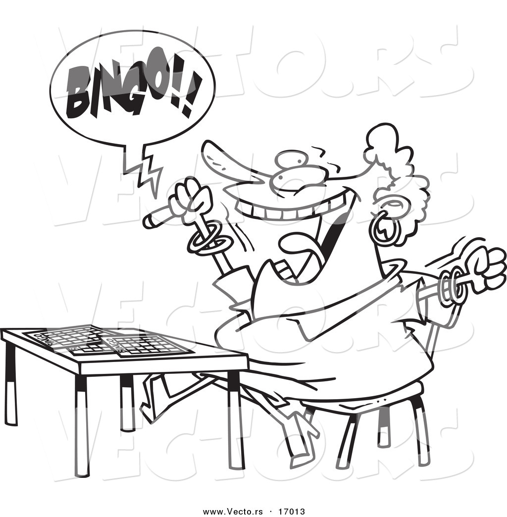 vector of a cartoon woman shouting bingo coloring page outline
