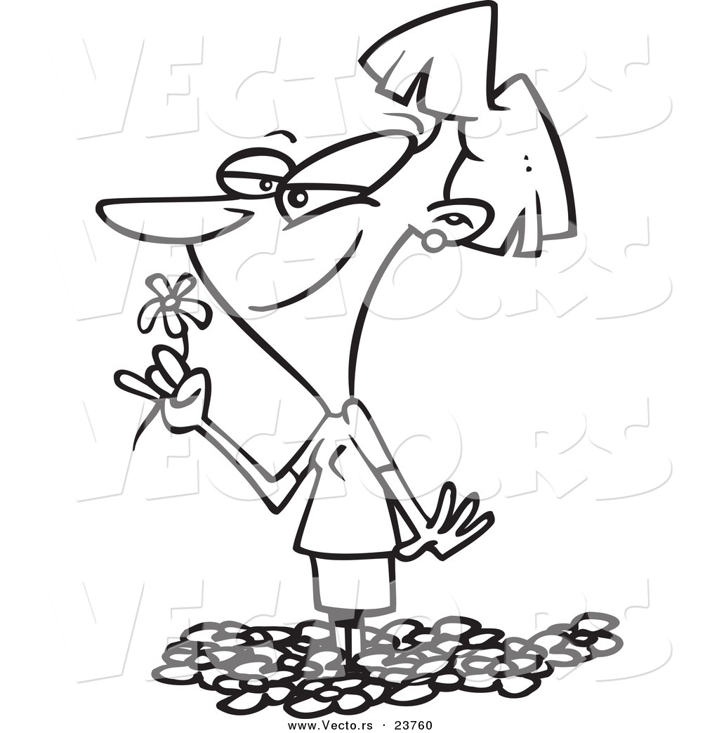 vector of a cartoon woman smelling spring flowers coloring page