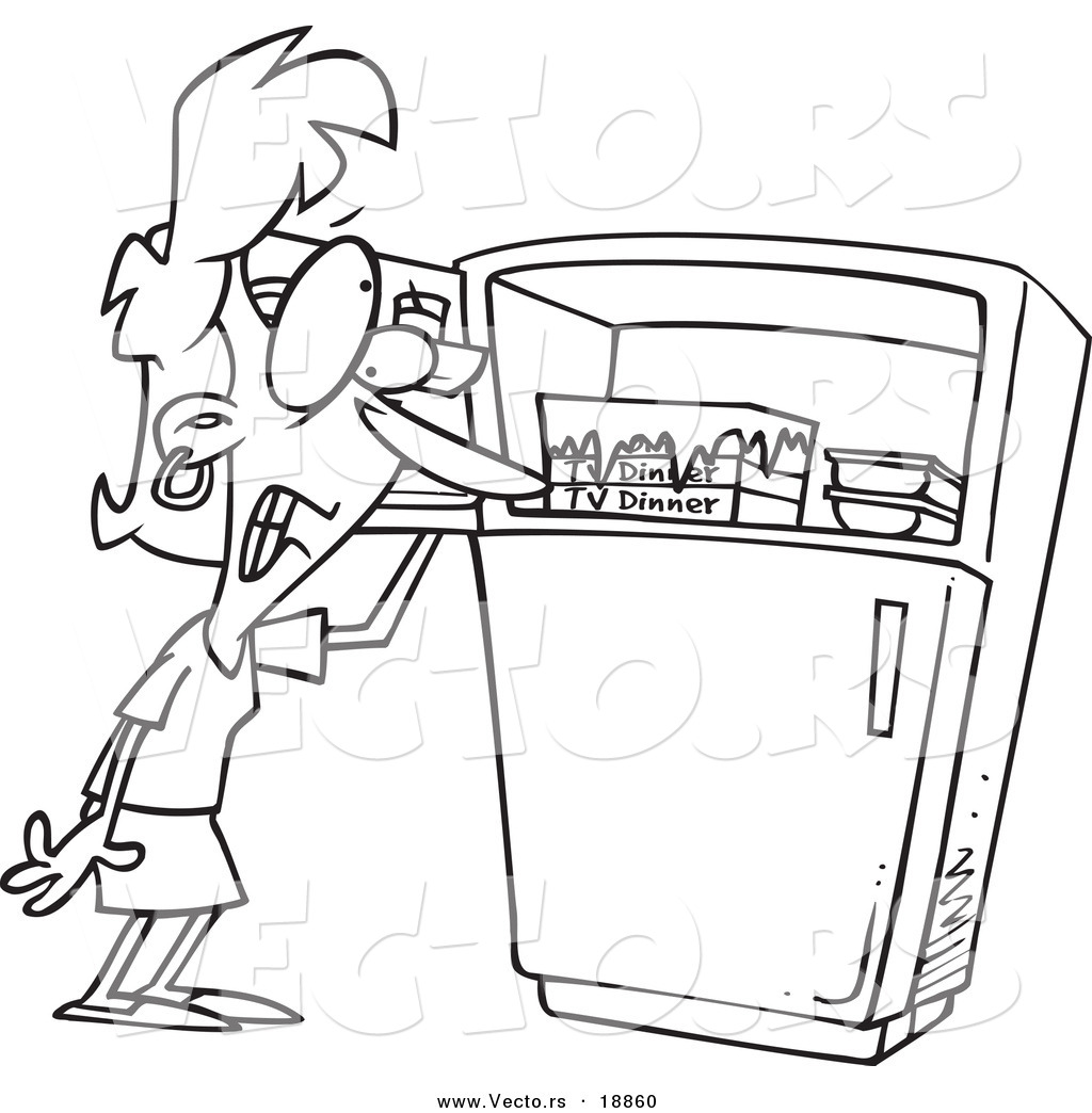freezer clipart black and white. vector of a cartoon woman standing by freezer during hot flash - outlined coloring clipart black and white
