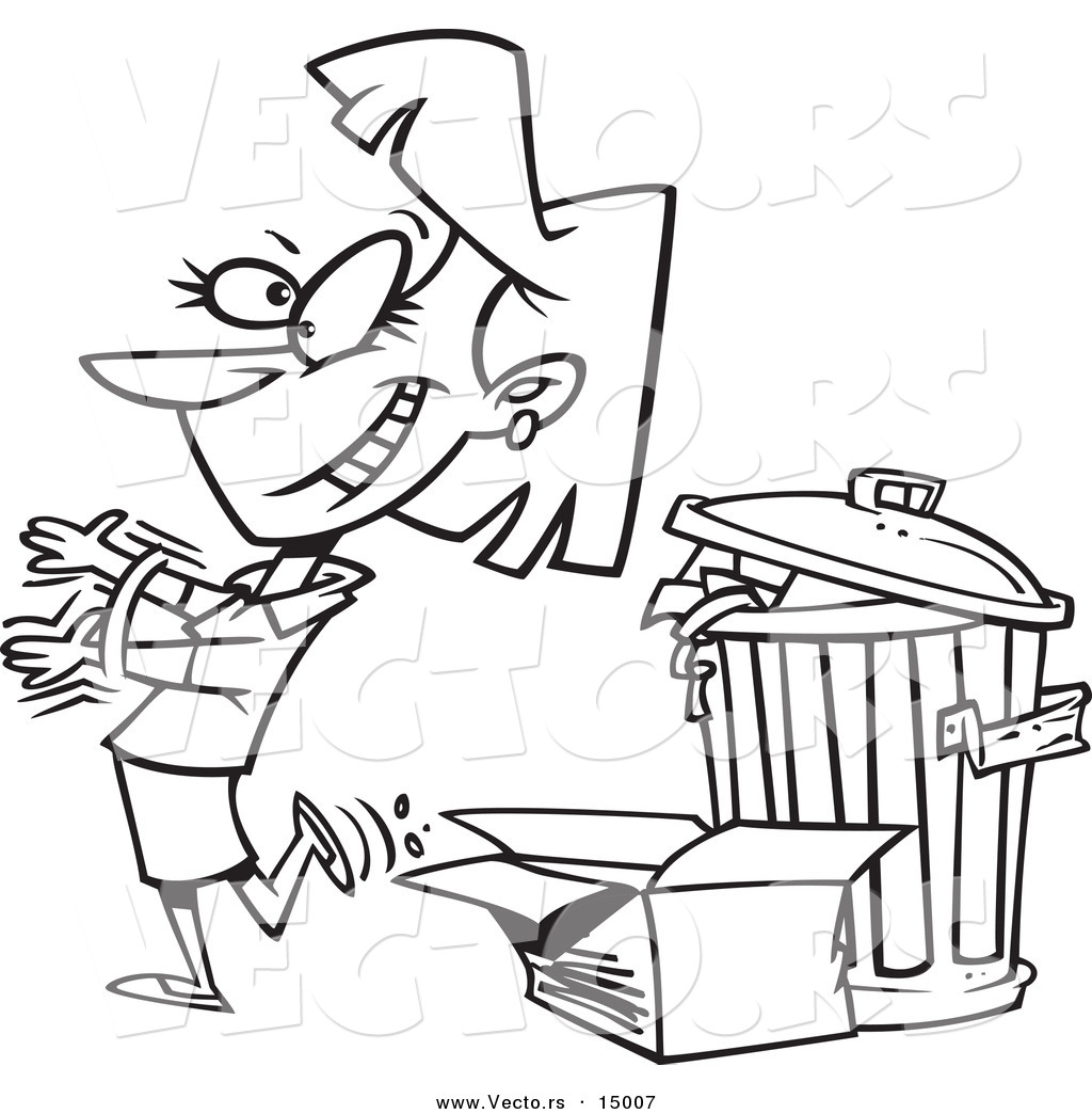 vector of a cartoon woman tossing old trash coloring page