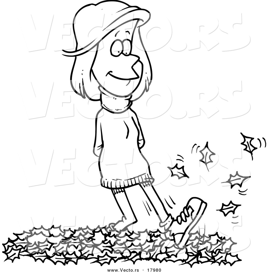 Vector Of A Cartoon Woman Walking In Leaves Outlined
