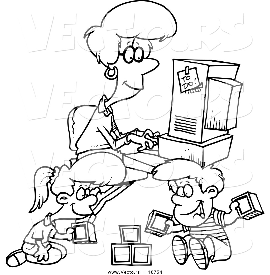 puter coloring pages family