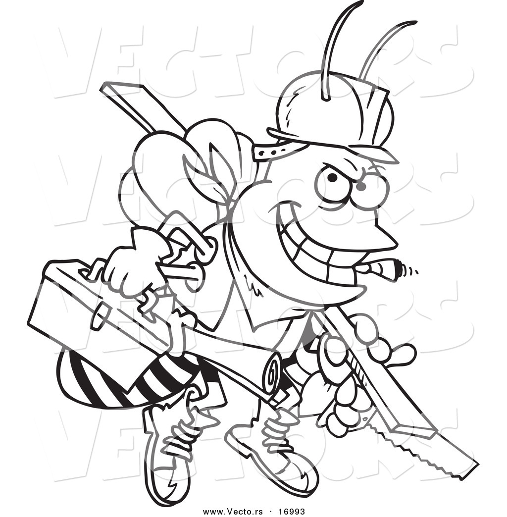 vector of a cartoon worker bee carrying tools coloring page