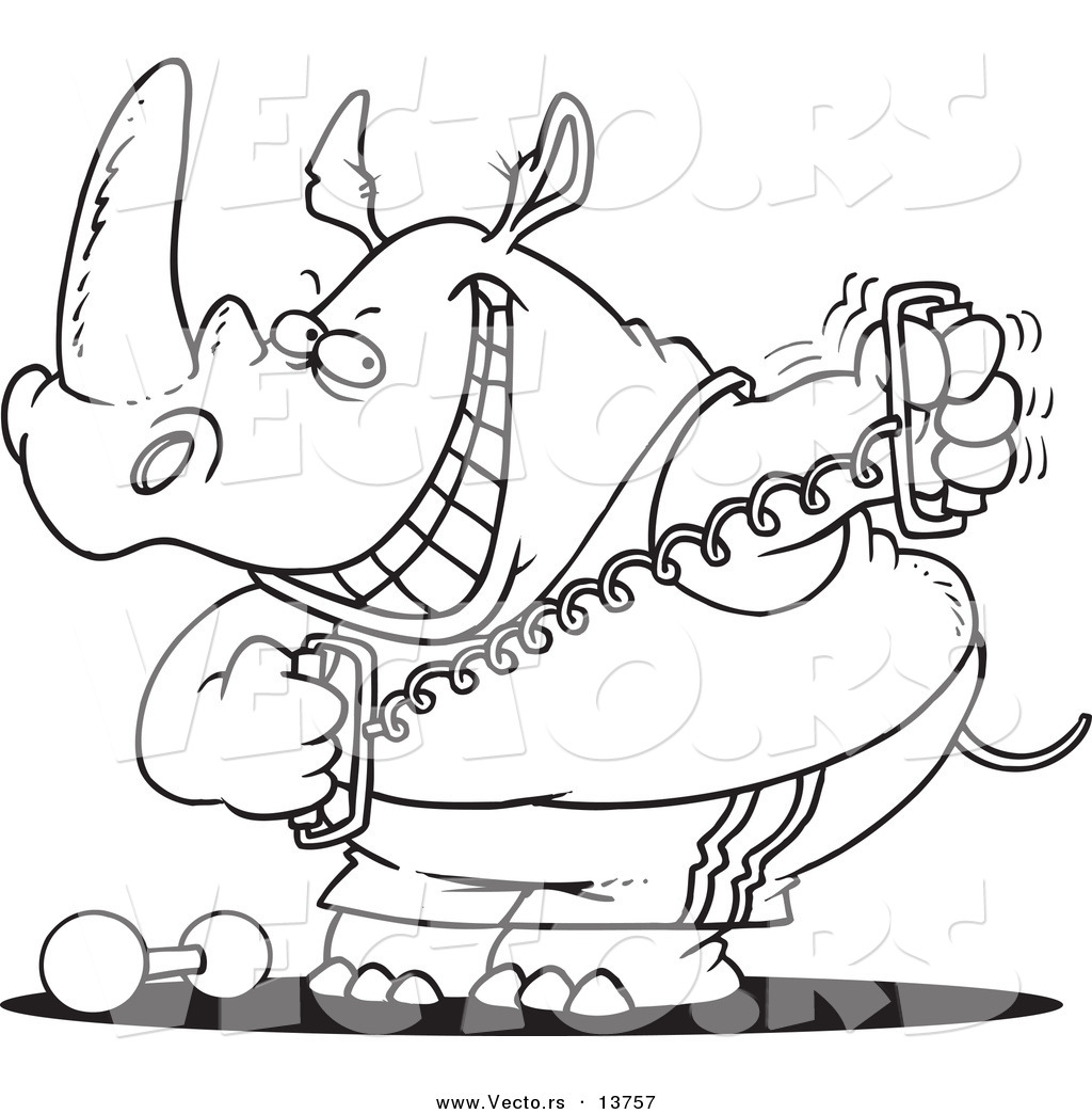 Vector of a Cartoon Workout Rhino Using a Stretching Device ...