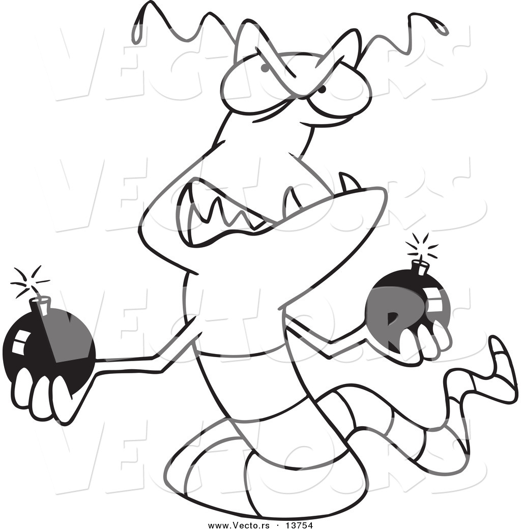 Vector Of A Cartoon Worm Virus Holding Bombs Coloring