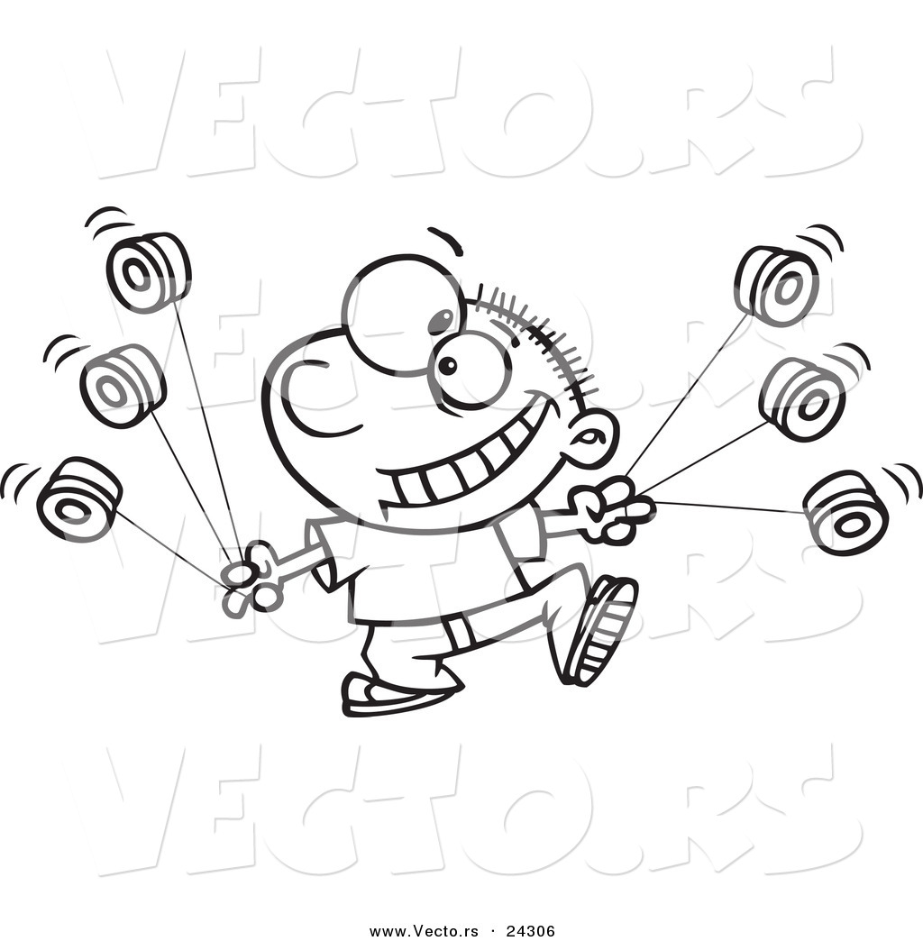 vector of a cartoon yo yo boy boy black and white outline outlined coloring page - Coloring Page Yoyo