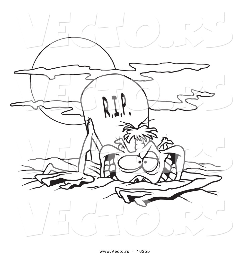 vector of a cartoon zombie rising from the grave outlined coloring page drawing