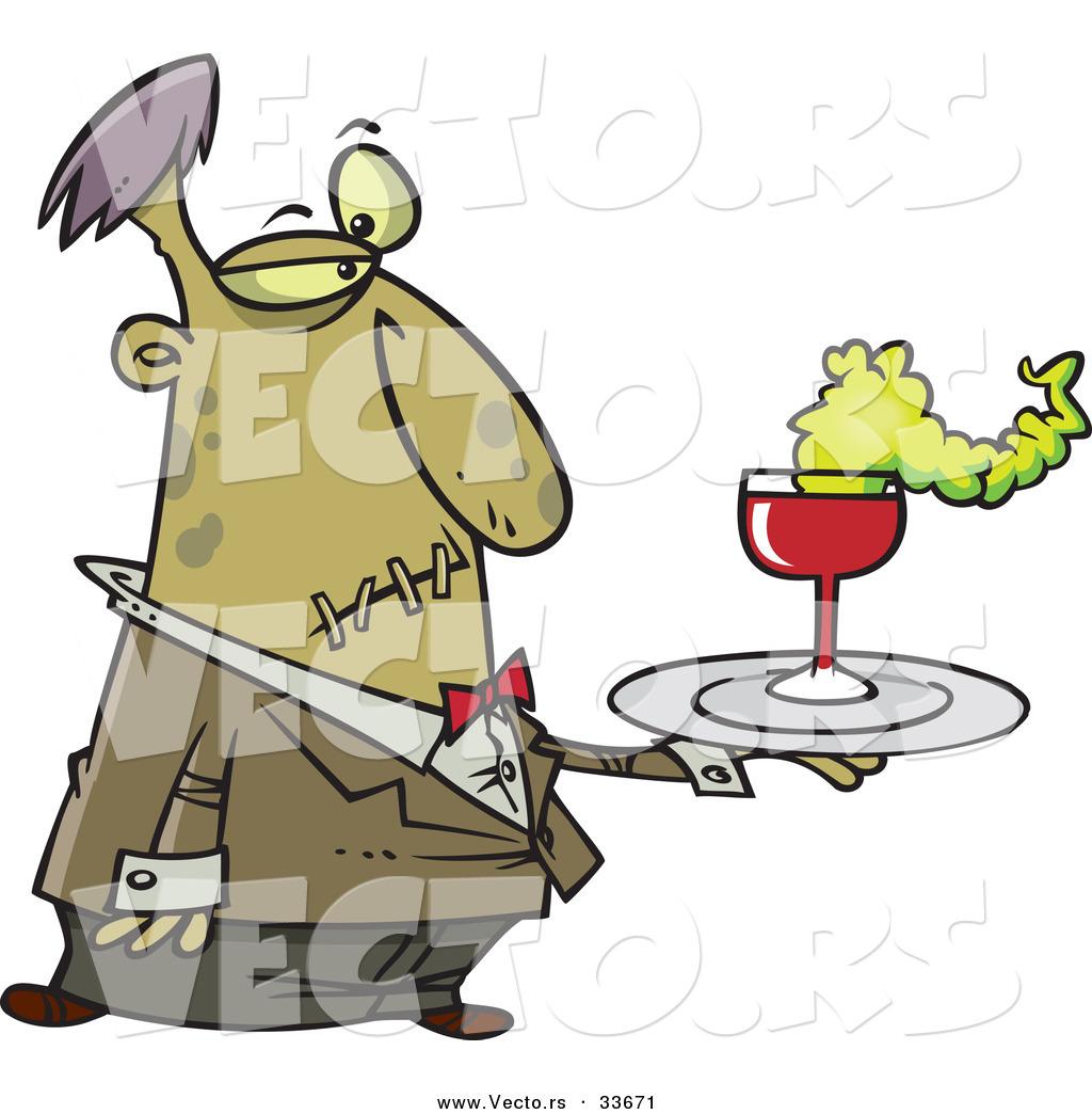 Vector of a Cartoon Zombie Waiter Serving Drinks at Halloween ...