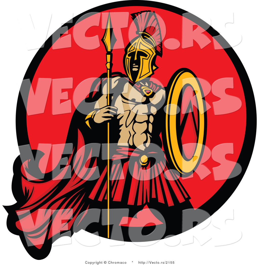 Vector of a Challenging Spartan Armed with a Spear and Shield Within