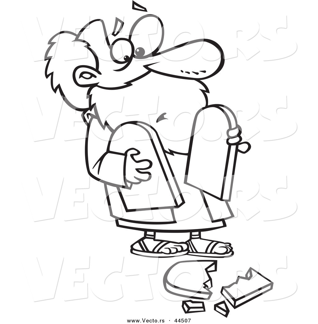 vector of a clumsy cartoon moses dropping a tablet coloring page