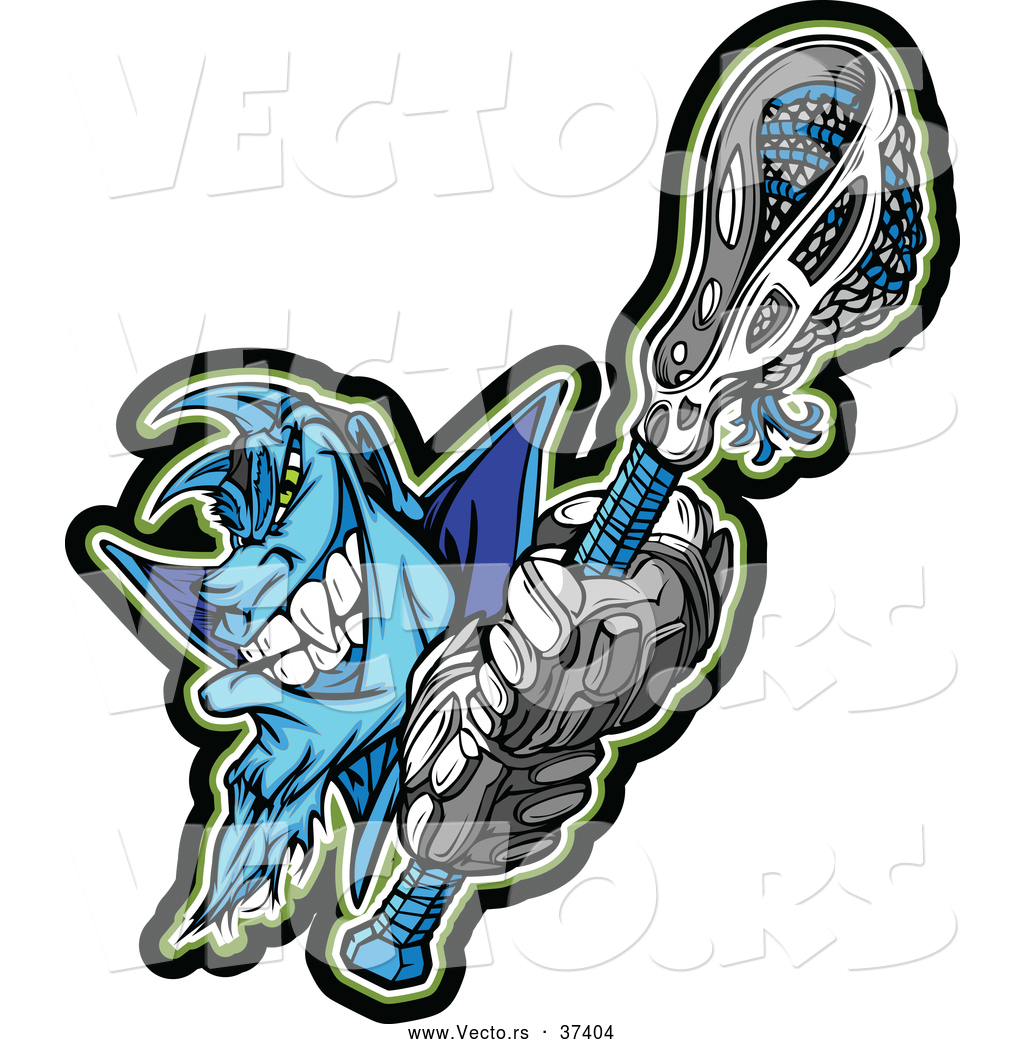 23c82ca2288 Vector of a Competitive Cartoon Demon Lacrosse Mascot Holding a Stick While  Looking Fearsome