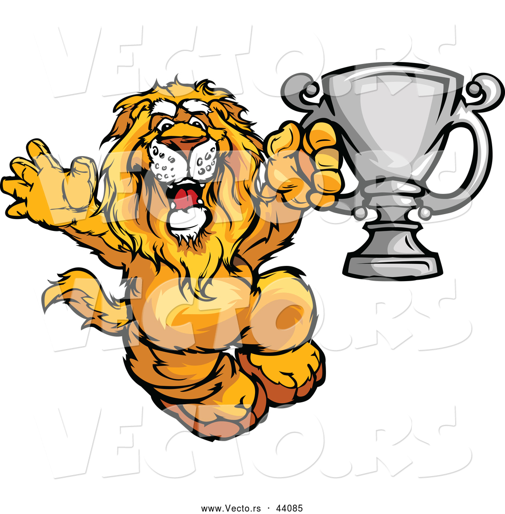 vector of a competitive cartoon lion celebrating with a silver
