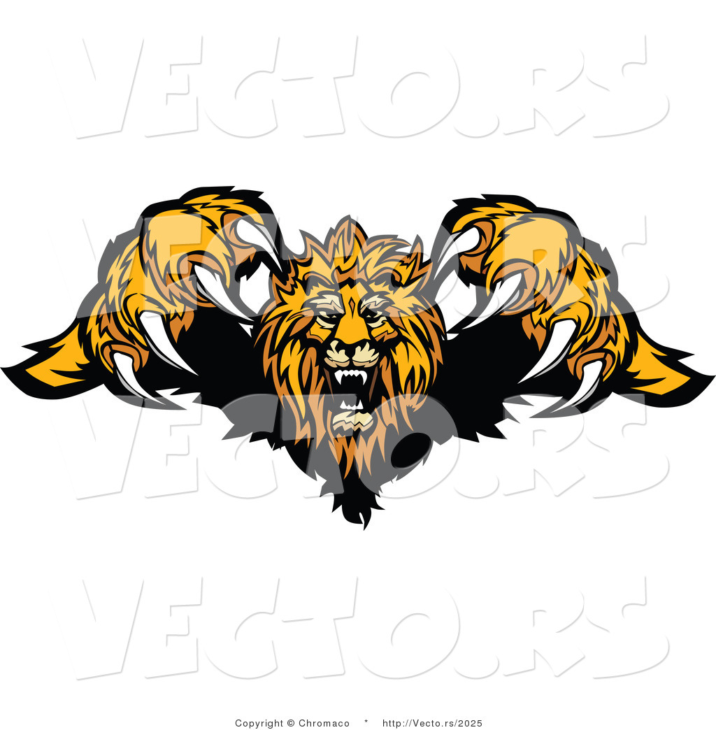 vector of a competitive cartoon lion mascot leaping forward with