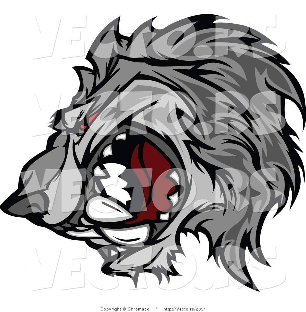 Vector Of Apetitive Gray Wolf Mascot Growling With Intimidating Red Eyes How  To Draw