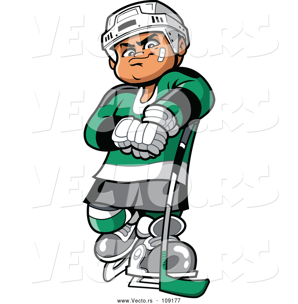 Vector Of A Confident Cartoon White Hockey Player Man Posing With Stick By Clip Art Mascots 109177