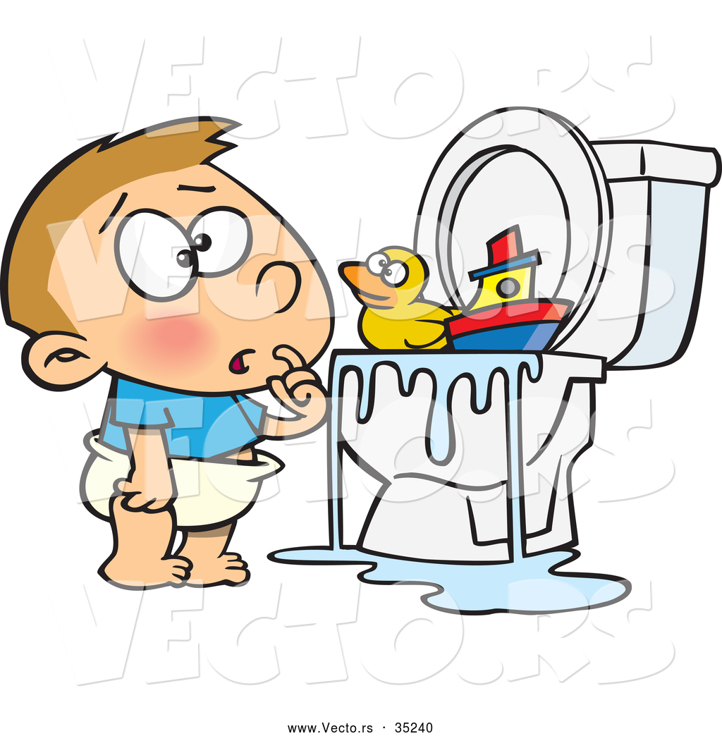 Bathroom toilet clogged - High Resolution Royalty Free Vector Graphic Of A Confused Cartoon Boy Looking At His Toys Floating On Overflowing Water In A Clogged Toilet