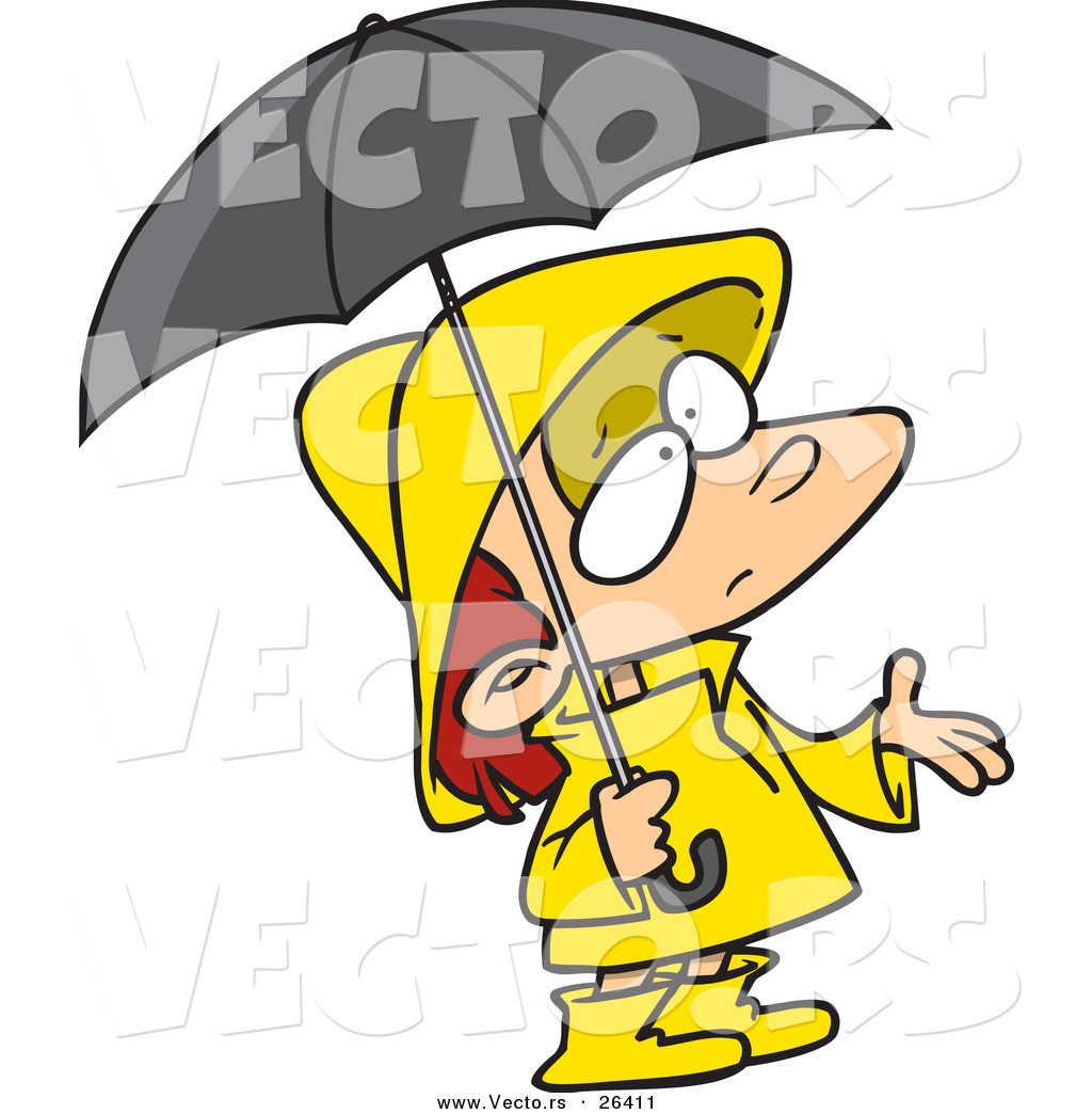 Vector of a Confused Cartoon Girl Wearing Rain Gear, Waiting for ...
