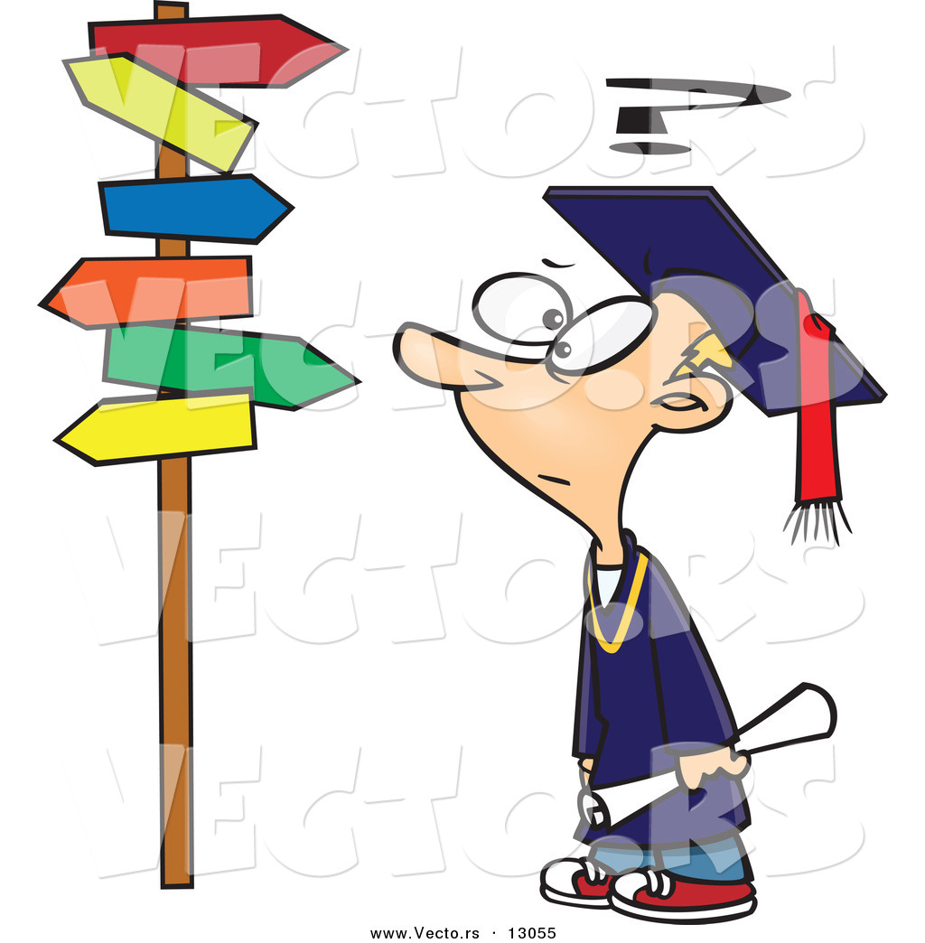 vector of a confused cartoon graduate boy looking at