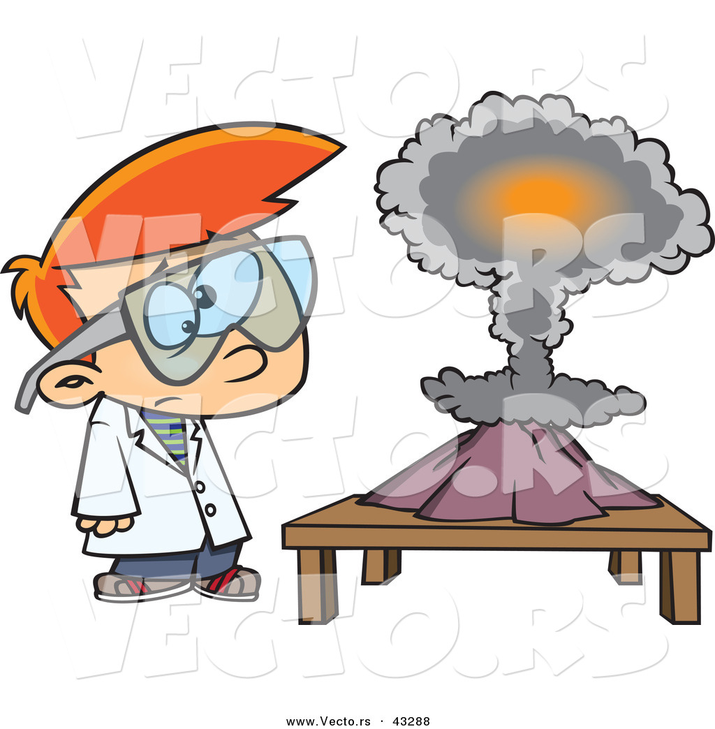 V Is For Volcano Clipart Vector of a Confused C...