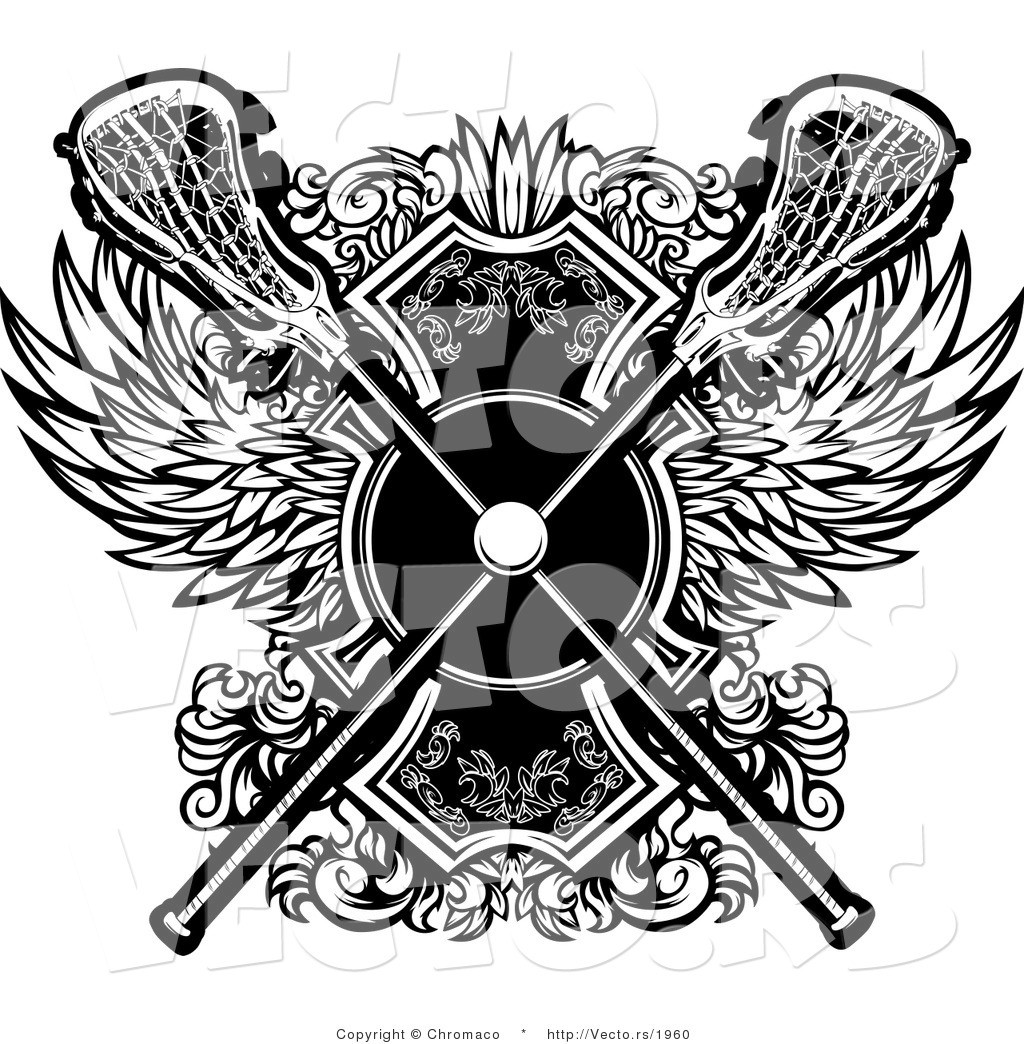 3baa0db2da0 Vector of a Crisscrossed Lacrosse Sticks over Badge with Wings - Black and  White