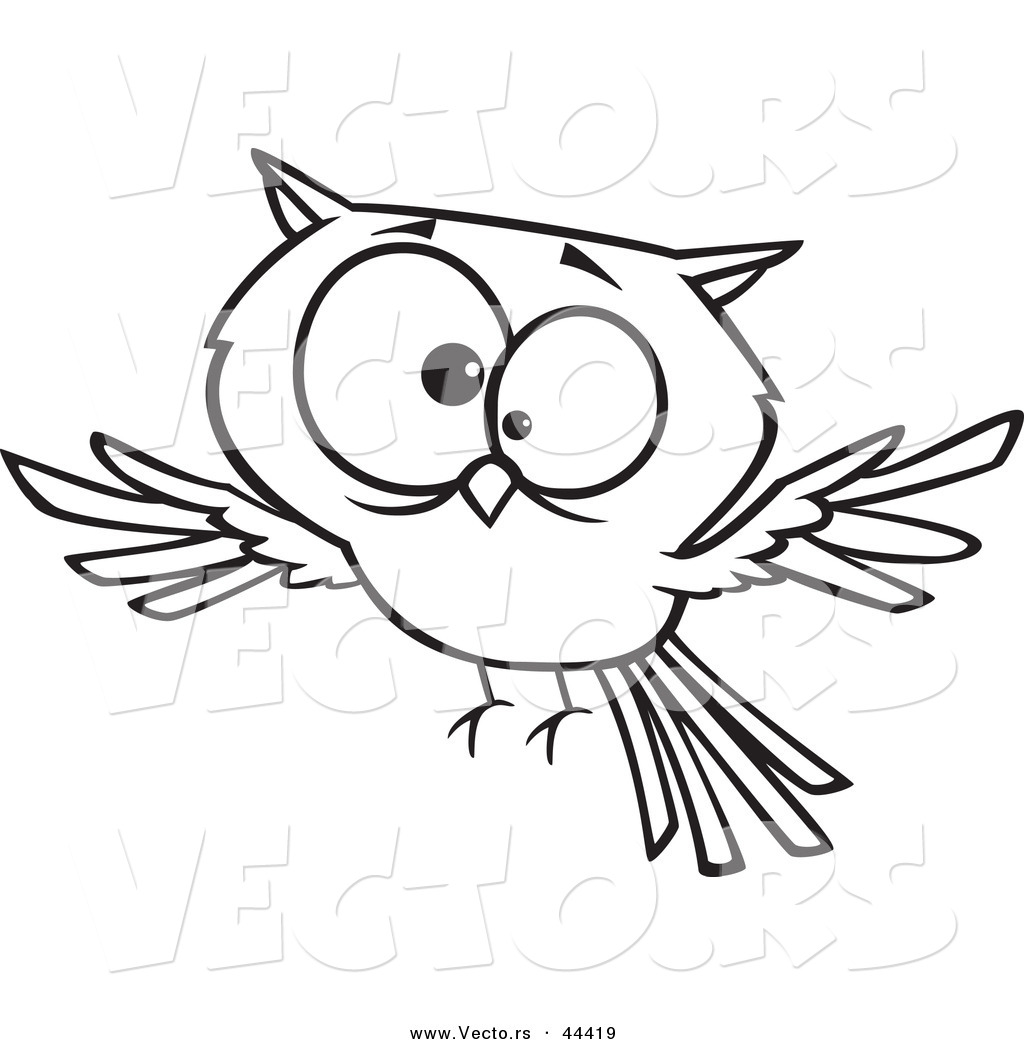 vector of a cross eyed cartoon owl coloring page outline by