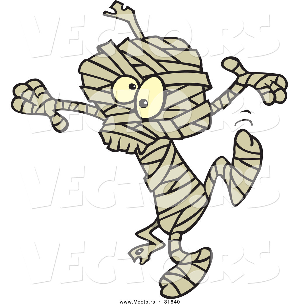 vector of a dancing cartoon mummy on halloween - Dancing Halloween