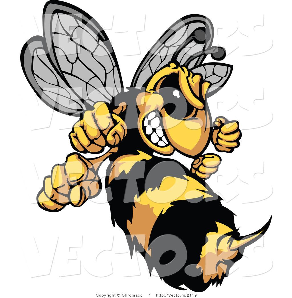 vector of a defensive cartoon hornet mascot prepared to Hornet Mascot Logos Black and White Hornet Mascot