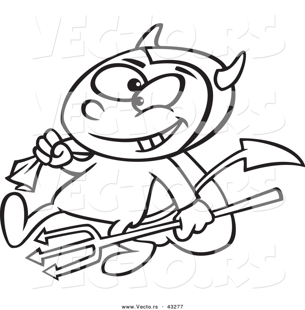 vector of a devil cartoon boy carrying a candy sack and pitchfork