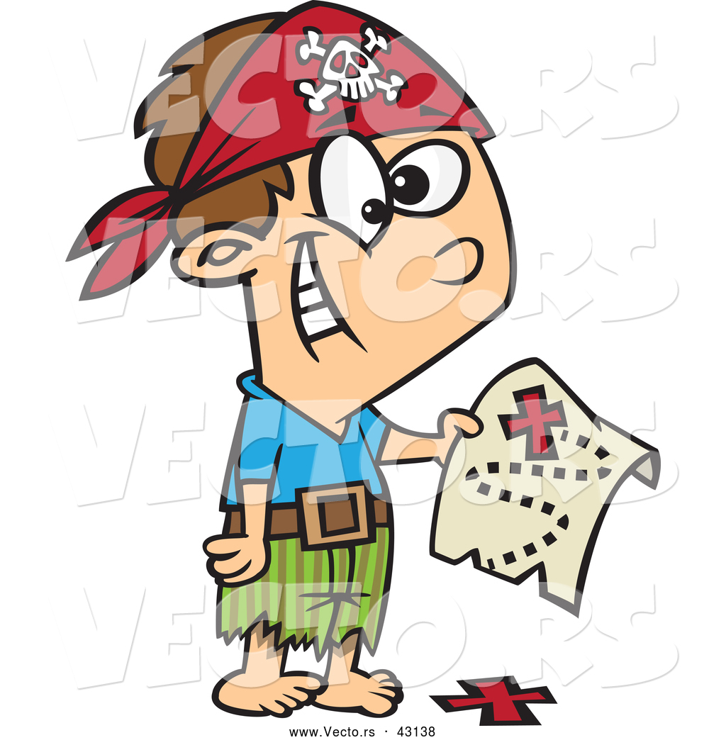 vector of a excited cartoon pirate boy holding a map over the x on