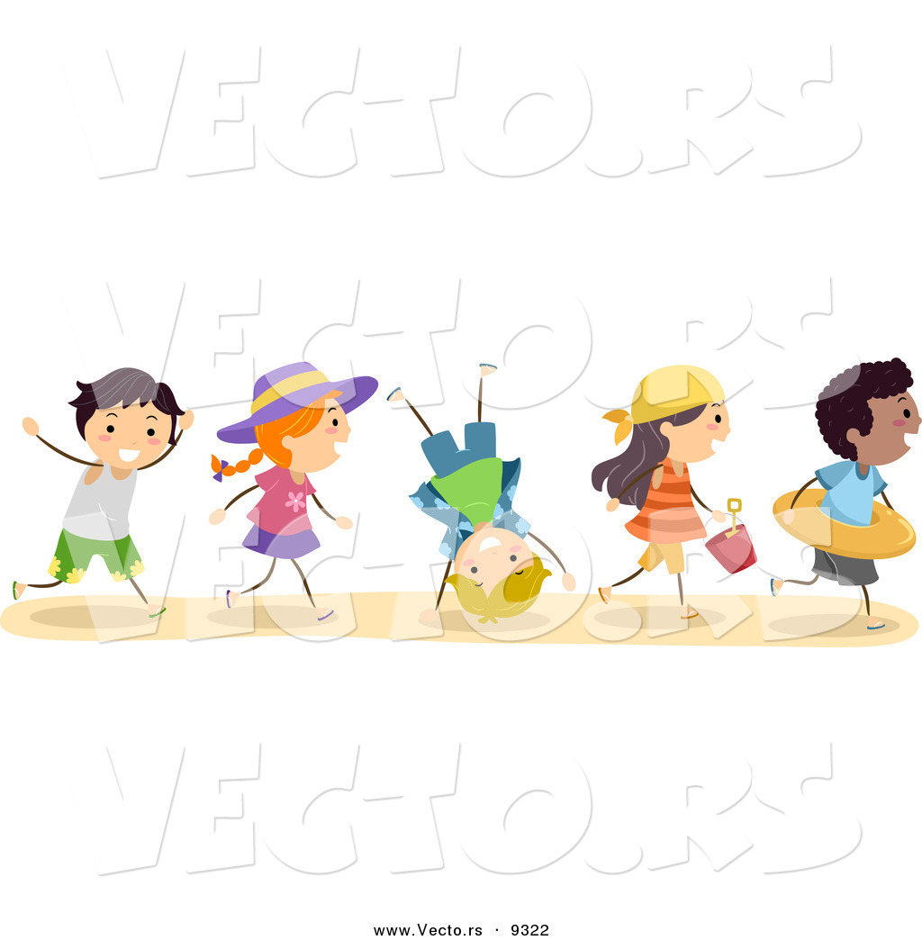 Vector Of A Excited Diverse Group Kids Running To The Beach