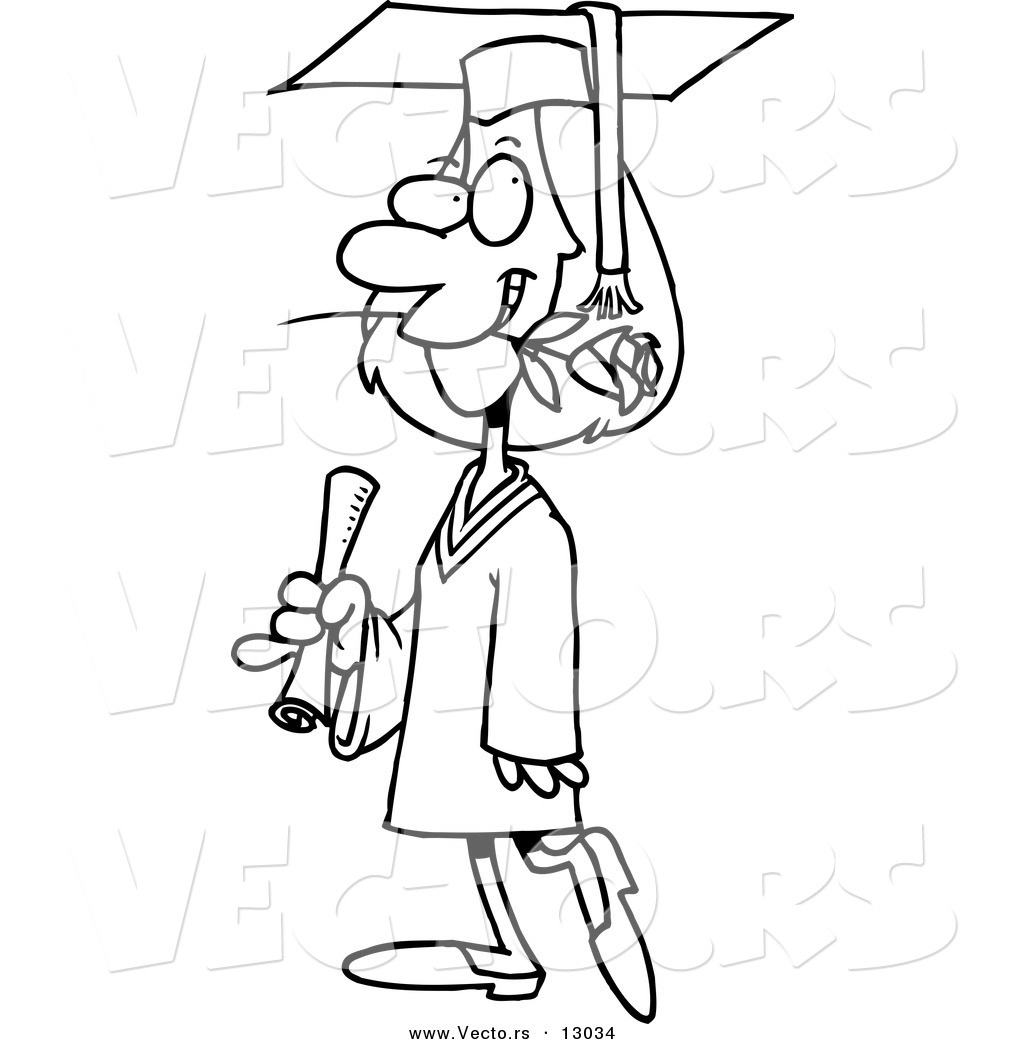 vector of a female cartoon college graduate walking with a rose in