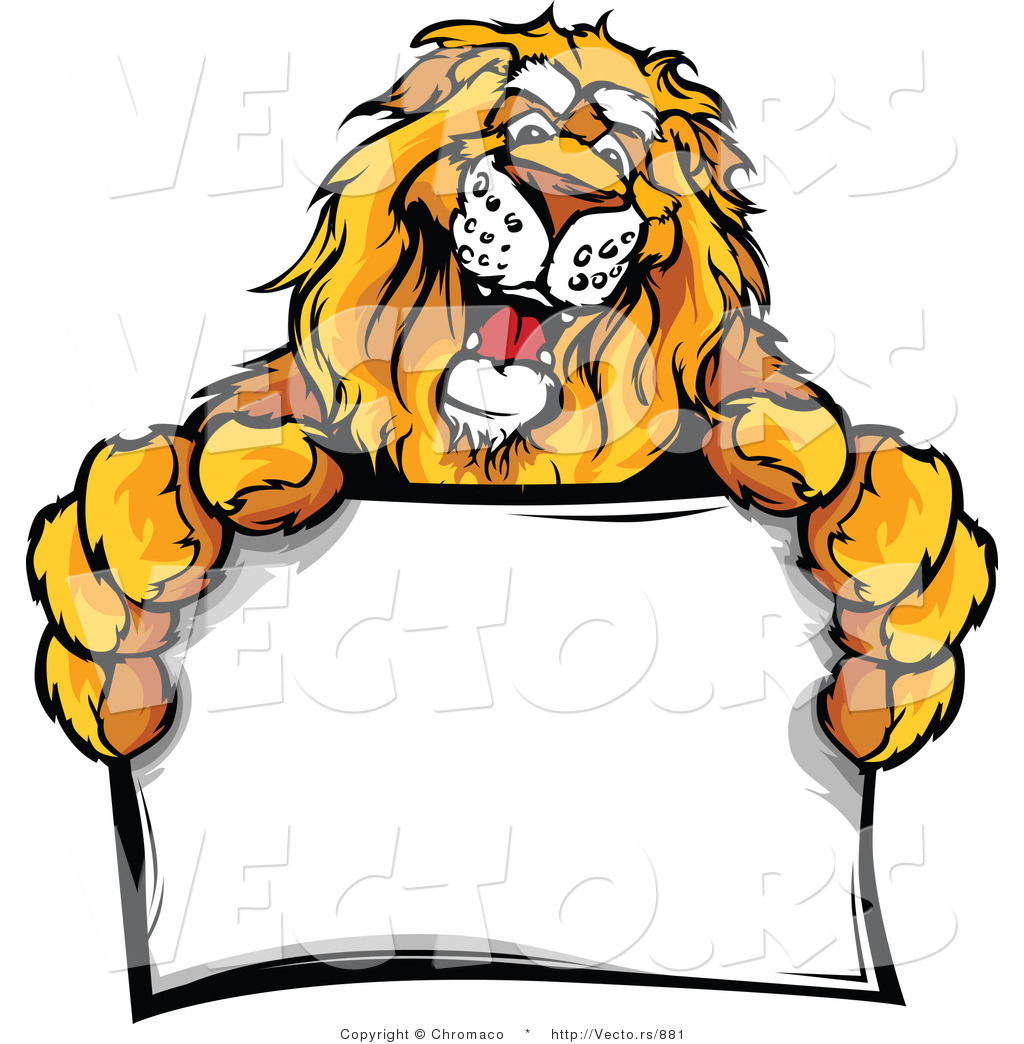 vector of a friendly cartoon lion mascot holding a blank sign by