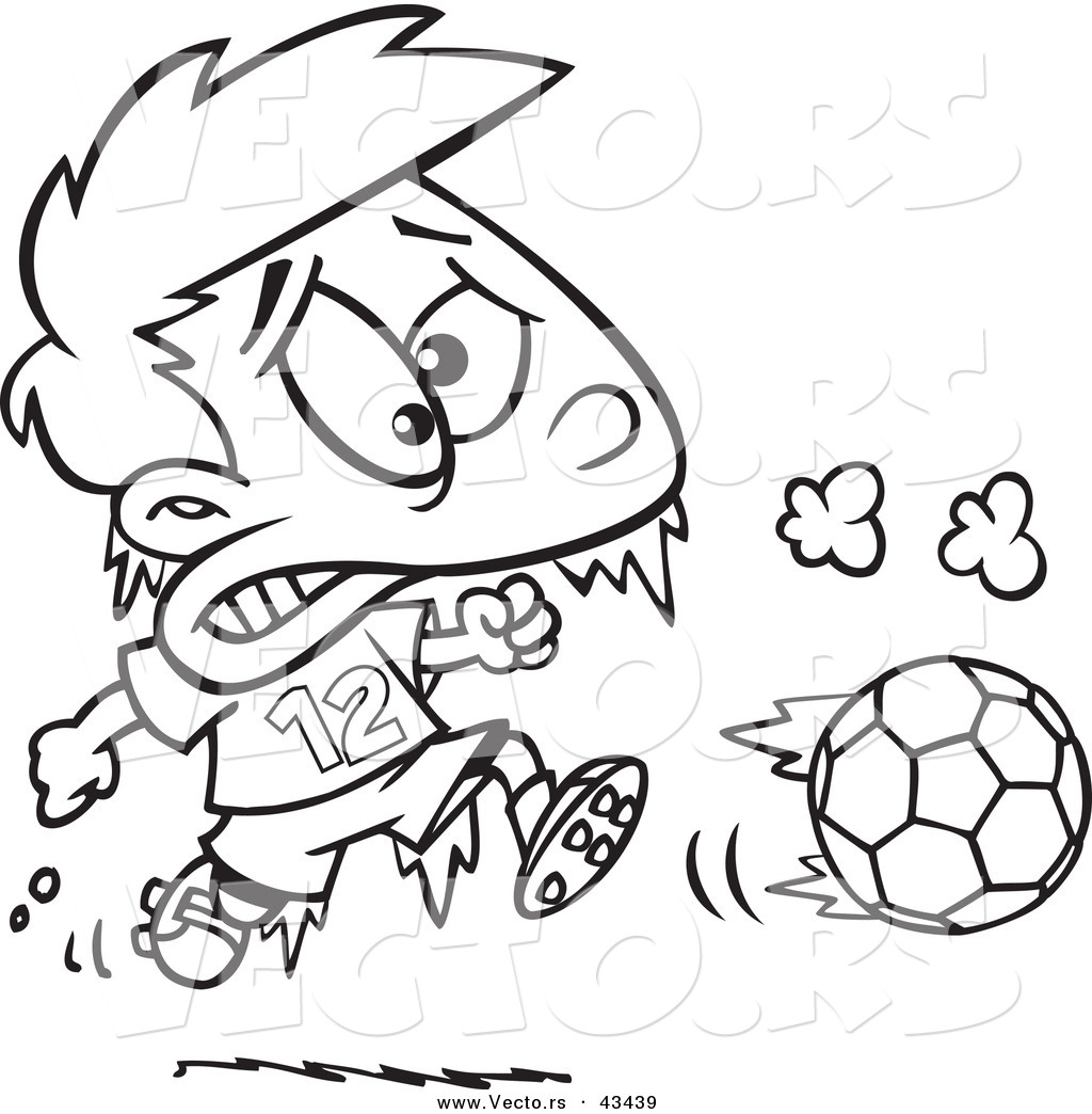 vector of a frozen cartoon boy playing soccer coloring page