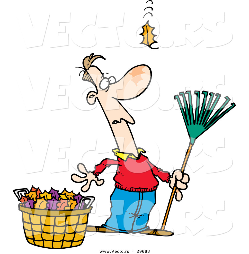 Vector Of A Funny Cartoon Man Holding A Rake While Standing Beside A Bag Of Leafs And Watching One More Leaf Fall Towards The Ground By Toonaday 29663
