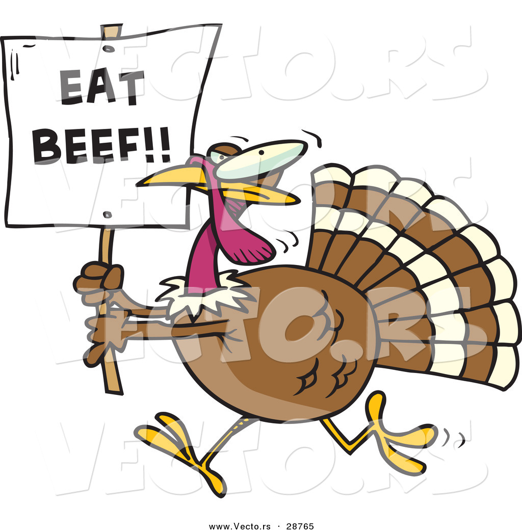 vector of a funny cartoon turkey running with a