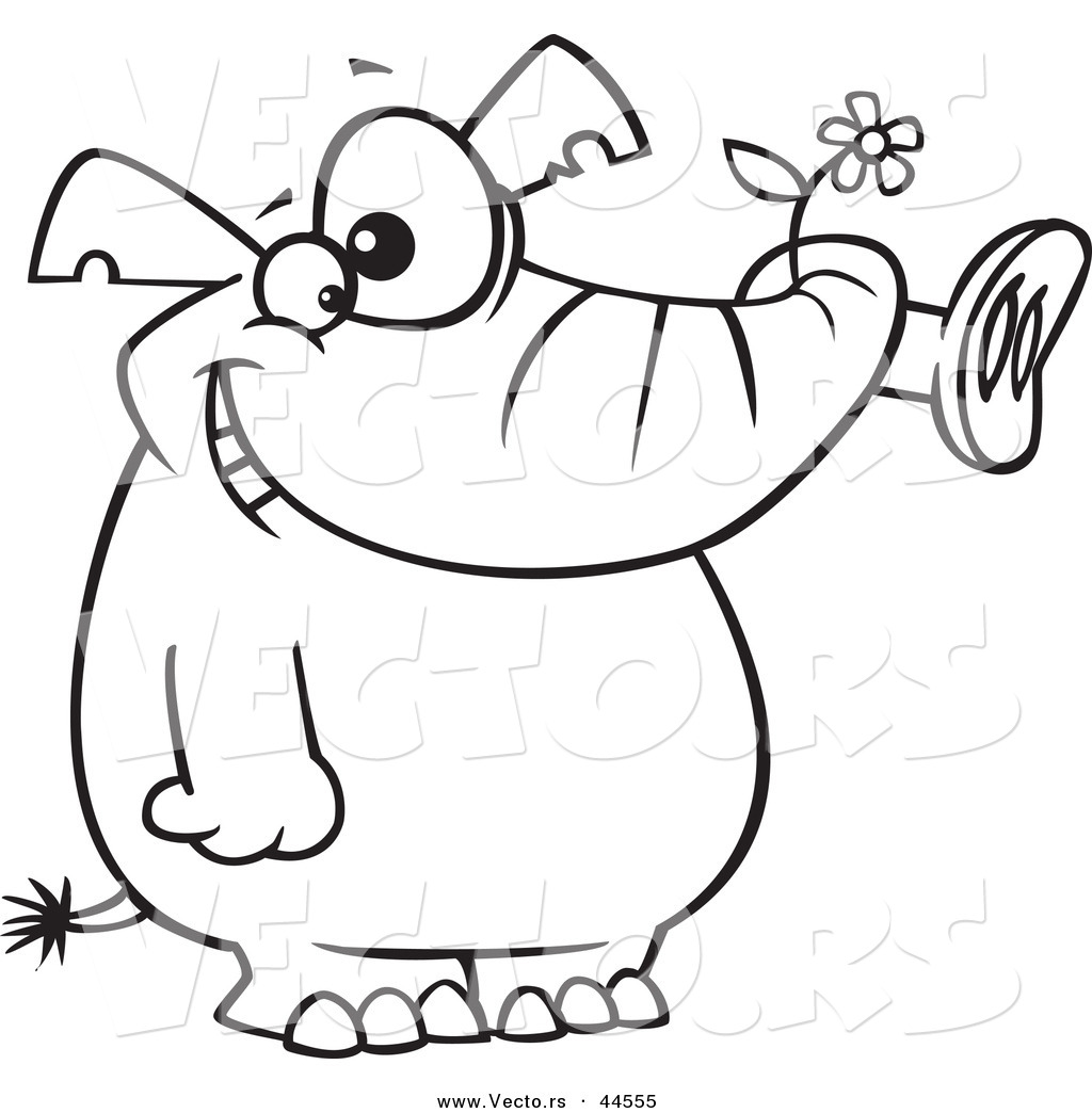 Vector of a Giddy Cartoon Elephant