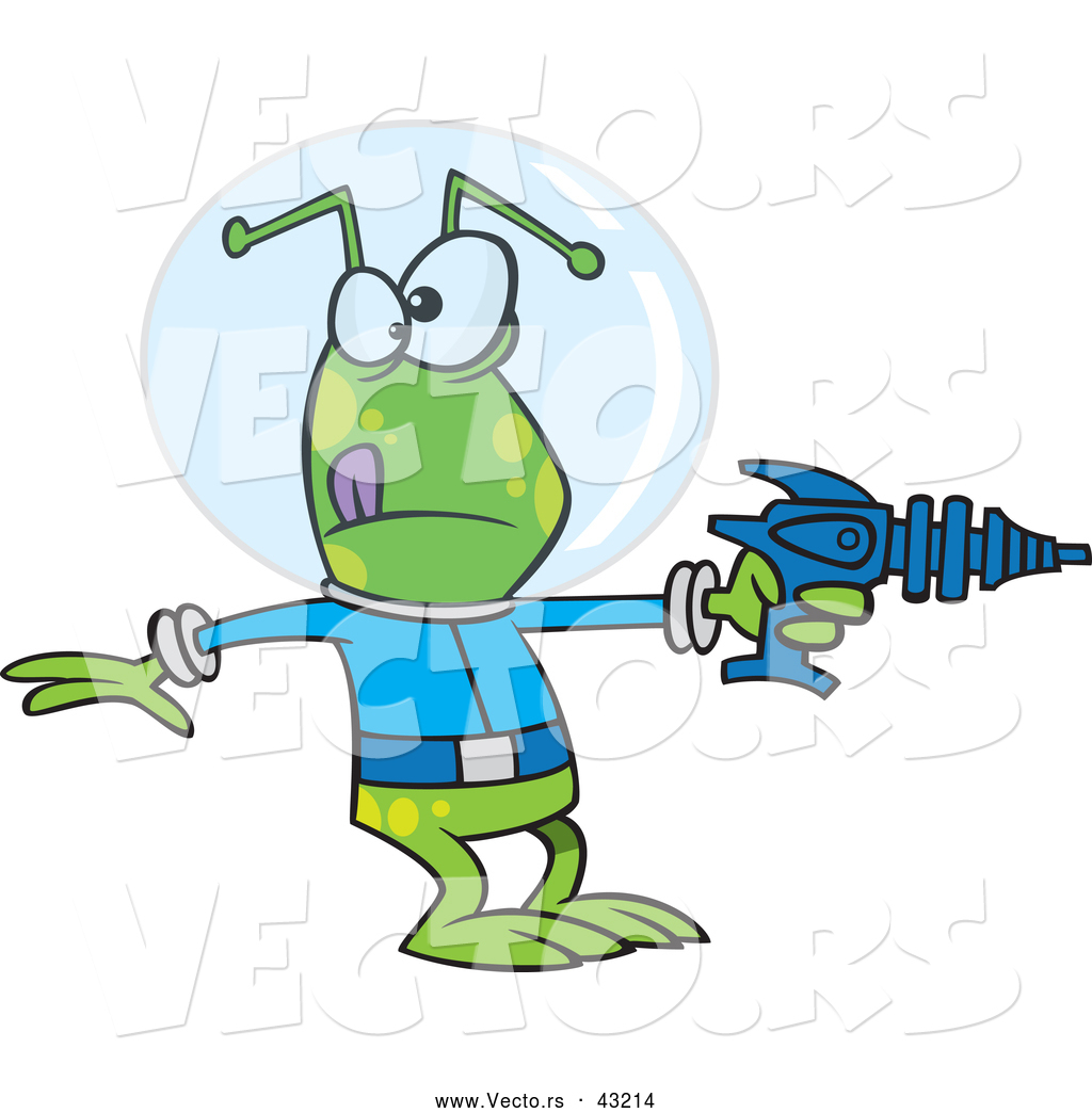 vector of a green cartoon alien pointing a ray gun by toonaday