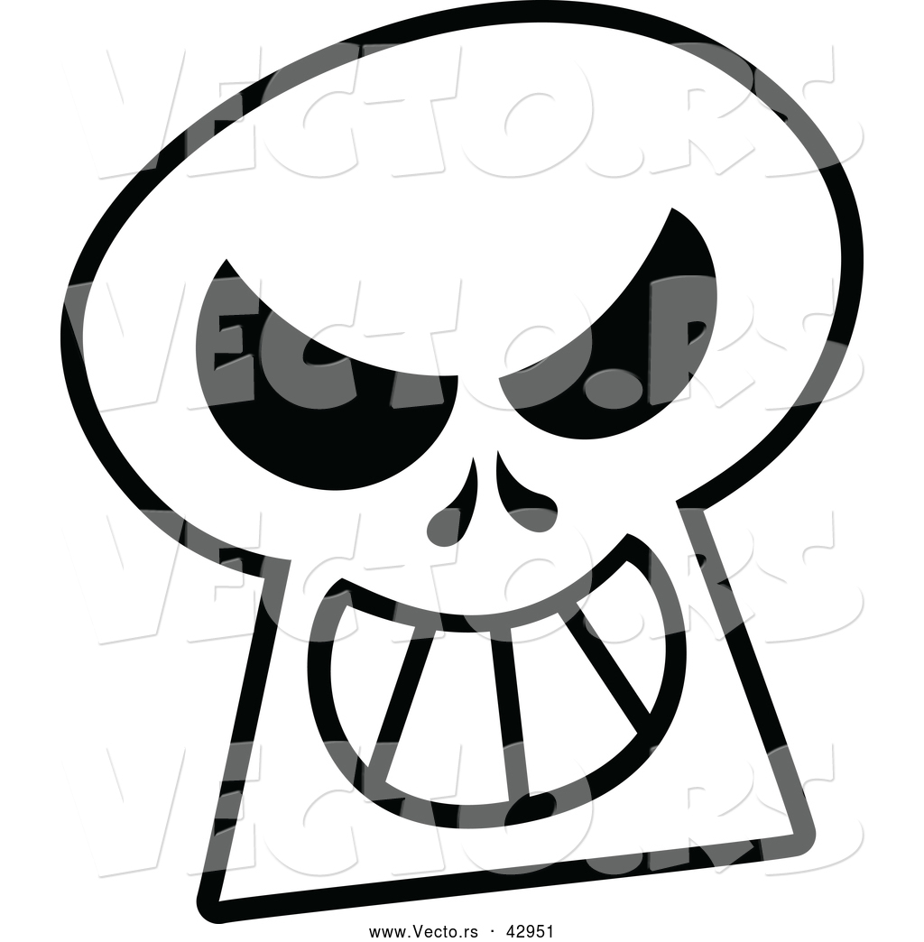 Free Vector Graphic Of A Grinning Cartoon Skull Outline This