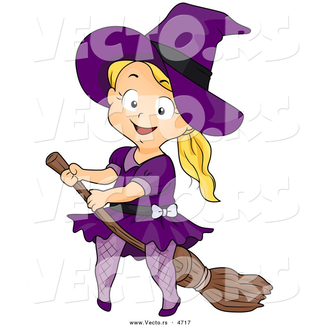 vector of a halloween cartoon girl witch riding a broomstick - Halloween Witch Cartoon