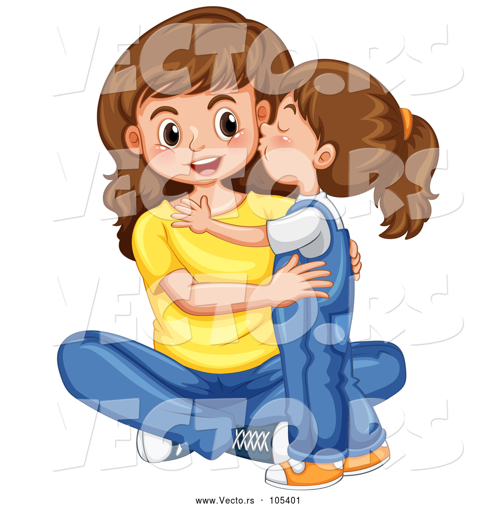 Vector Of A Happy Baby Girl Kissing Her Mom On The Cheek By Graphics Rf 105401