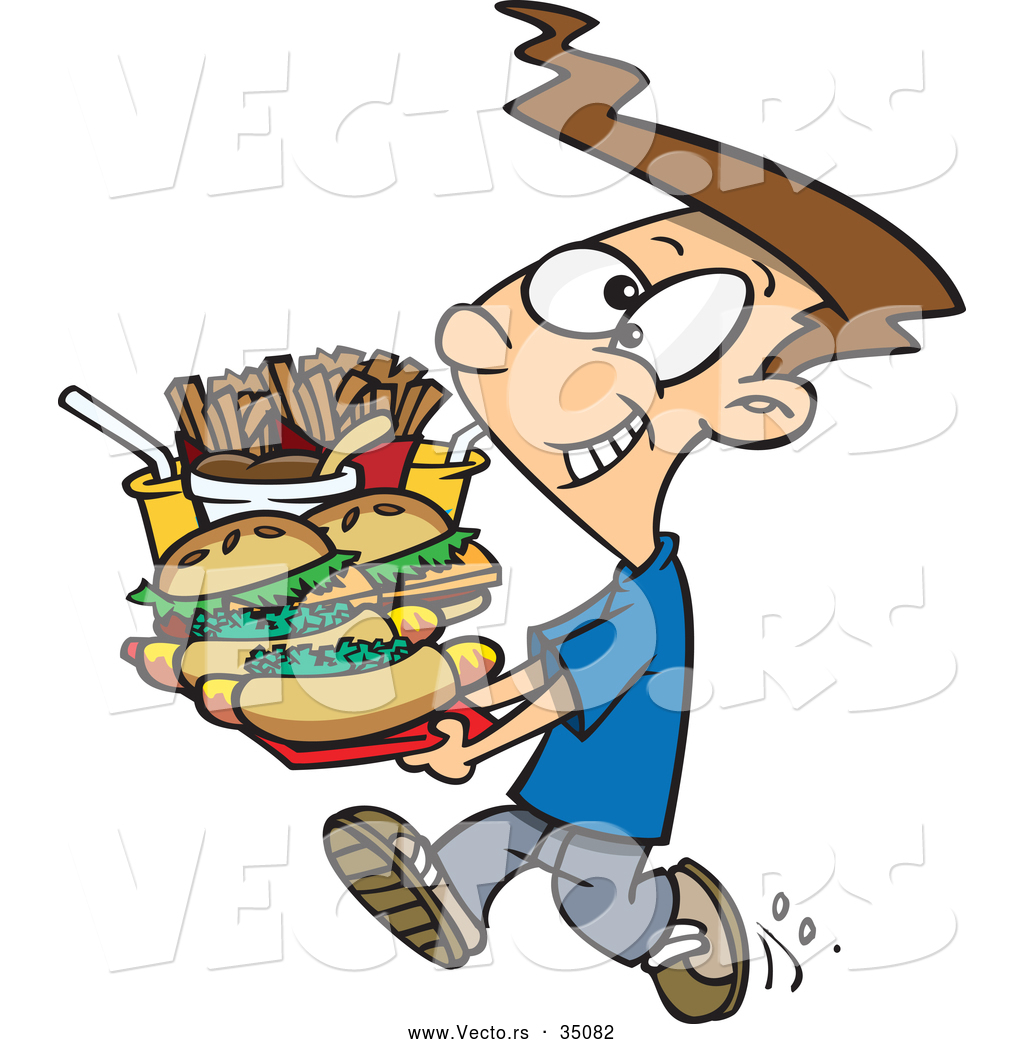 Vector of a Happy Cartoon Boy Carrying a Tray Full of Fast ...