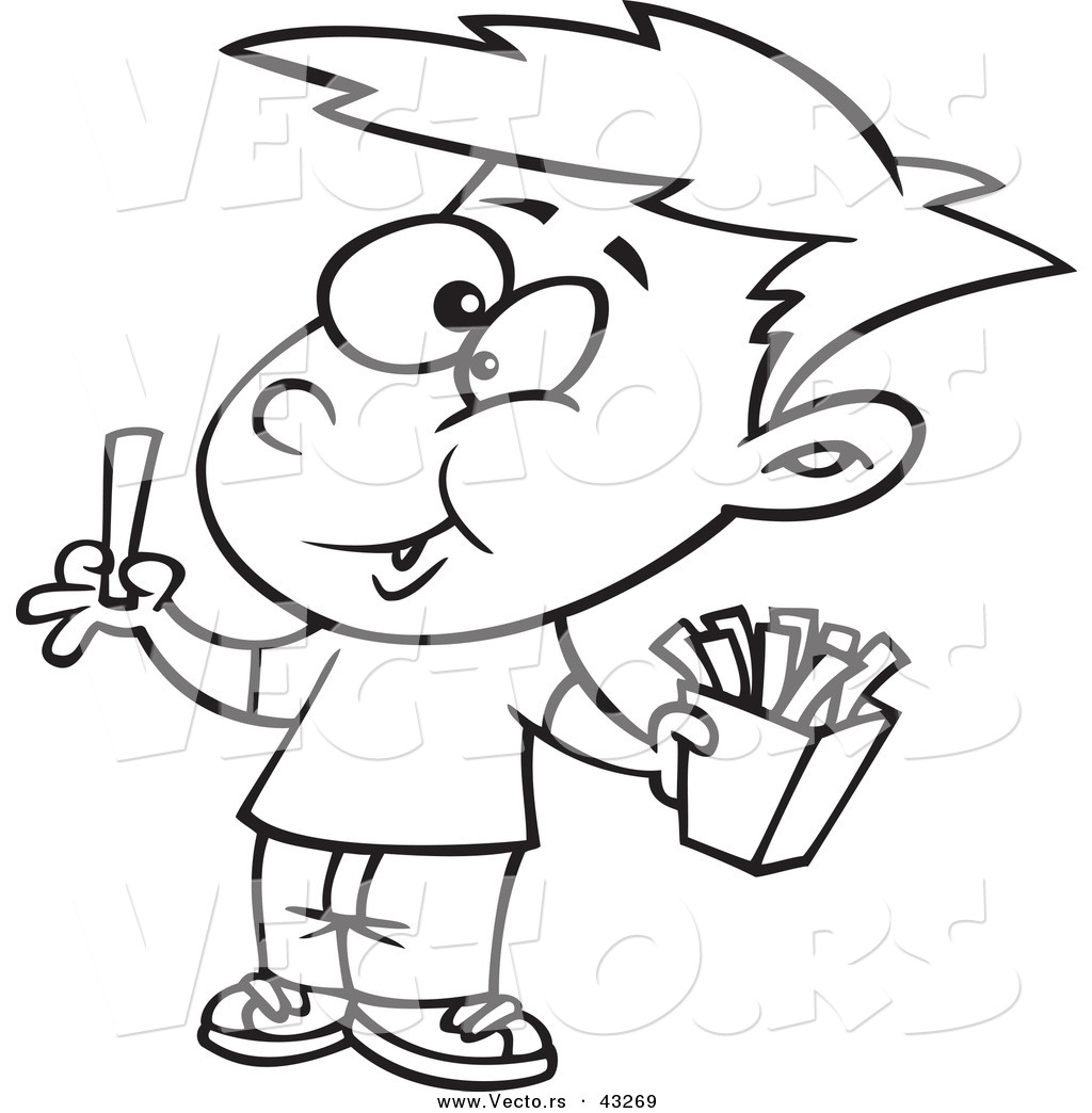 - Vector Of A Happy Cartoon Boy Eating French Fries - Coloring Page