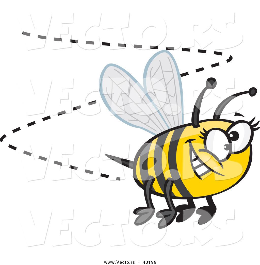 vector of a happy cartoon bumblebee buzzing around with a big