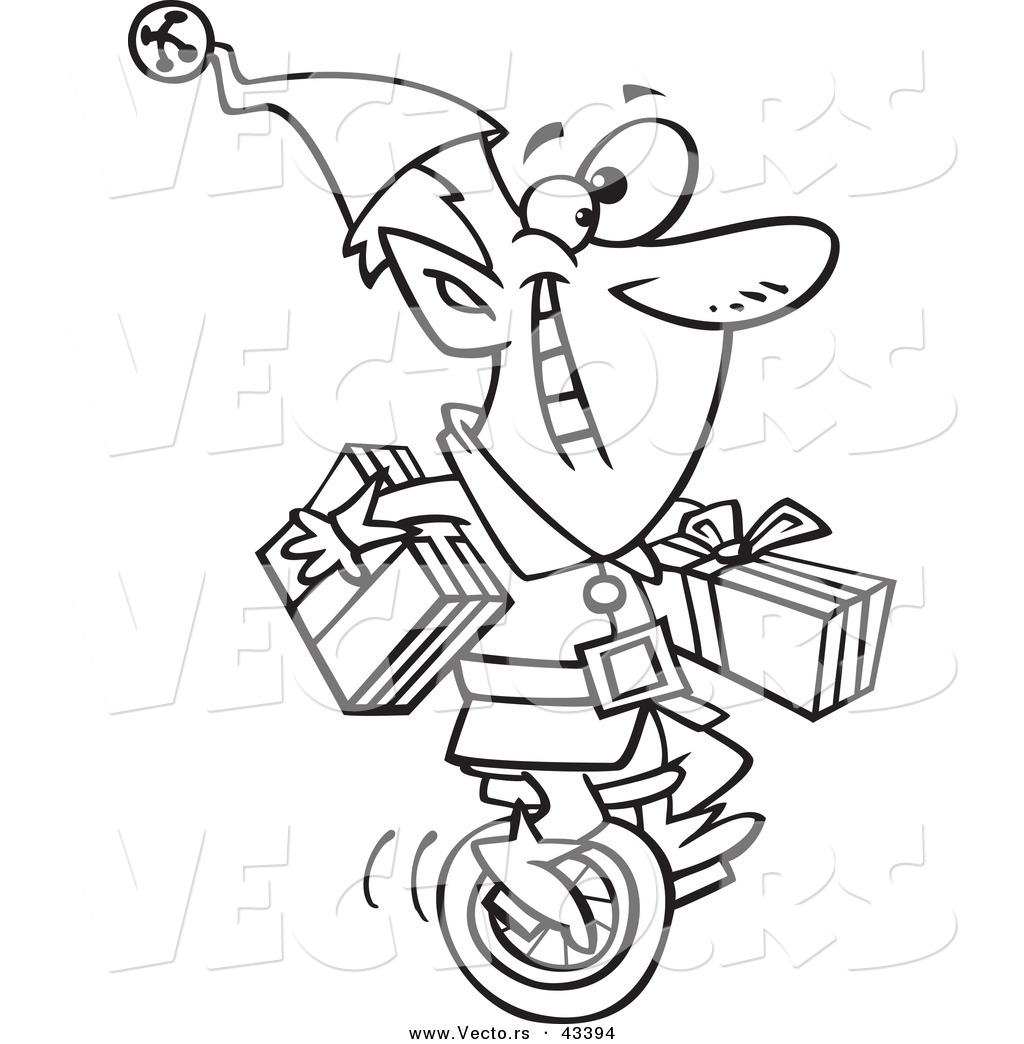 Vector of a Happy Cartoon Christmas Elf Carrying Gifts on a Unicycle ...