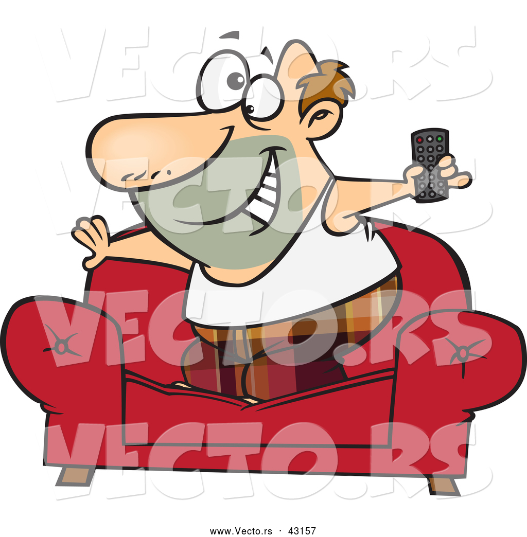 vector of a happy cartoon couch surfer man standing on his sofa with