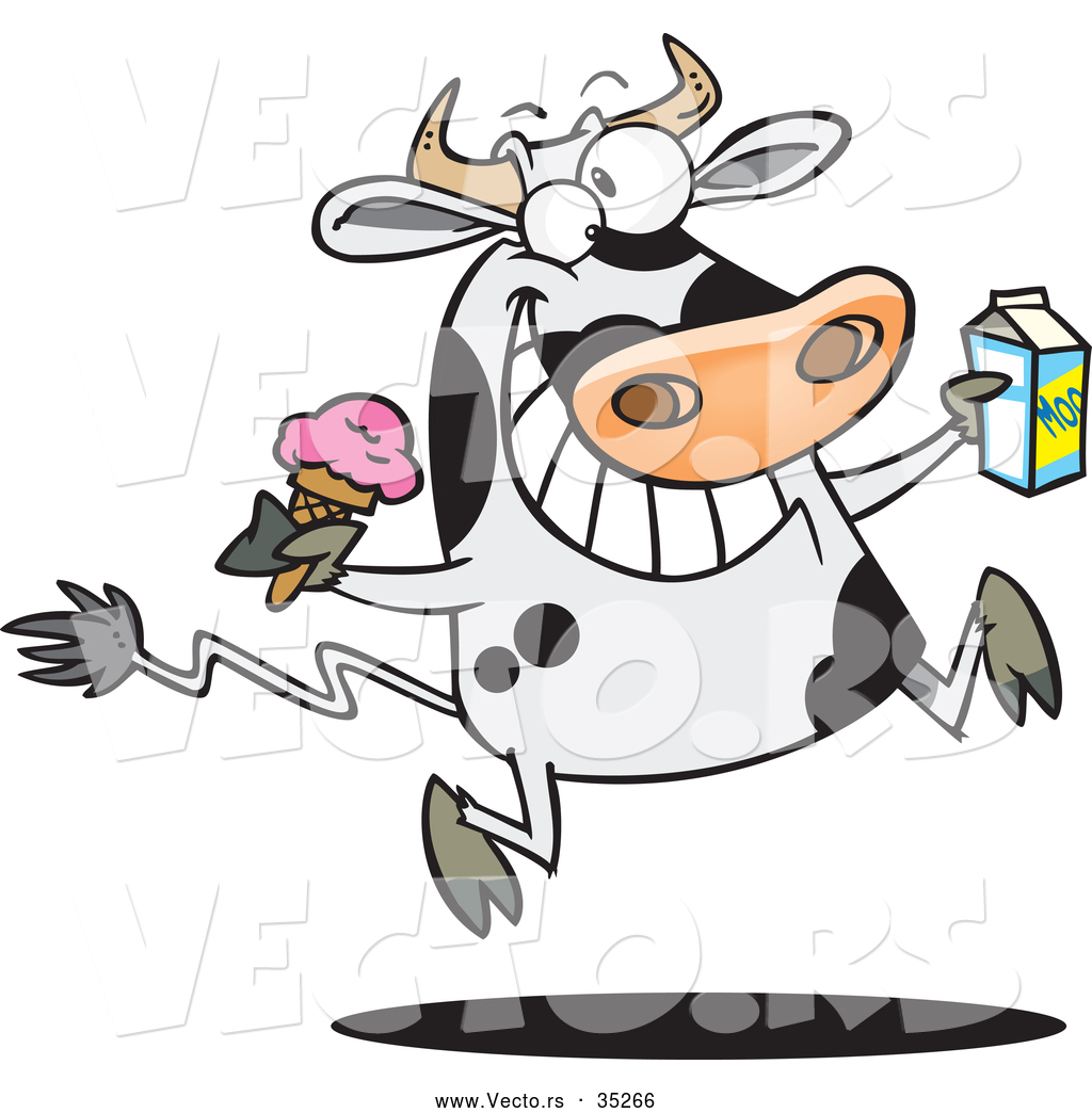 vector of a happy cartoon dairy cow running and jumping with ice