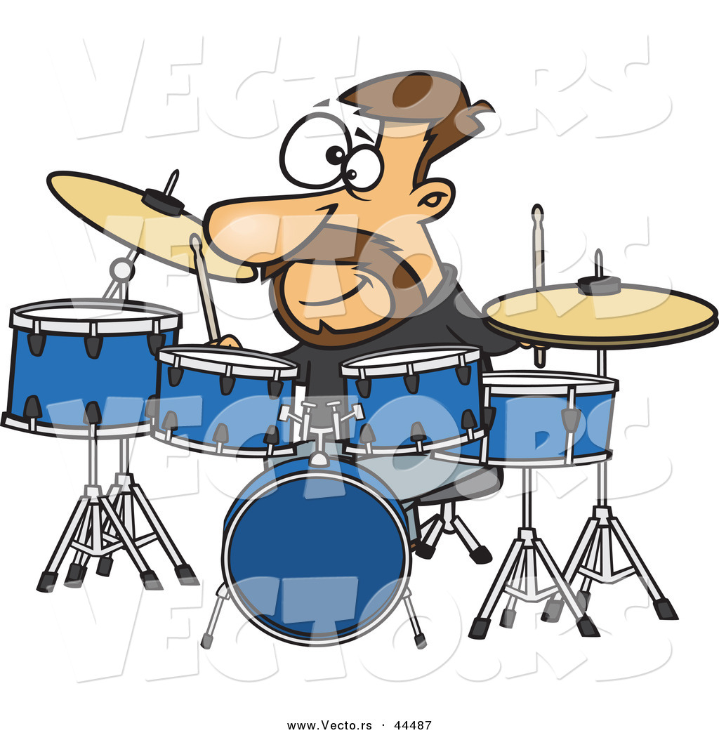 Vector Of A Happy Cartoon Drummer Playing With His Instruments