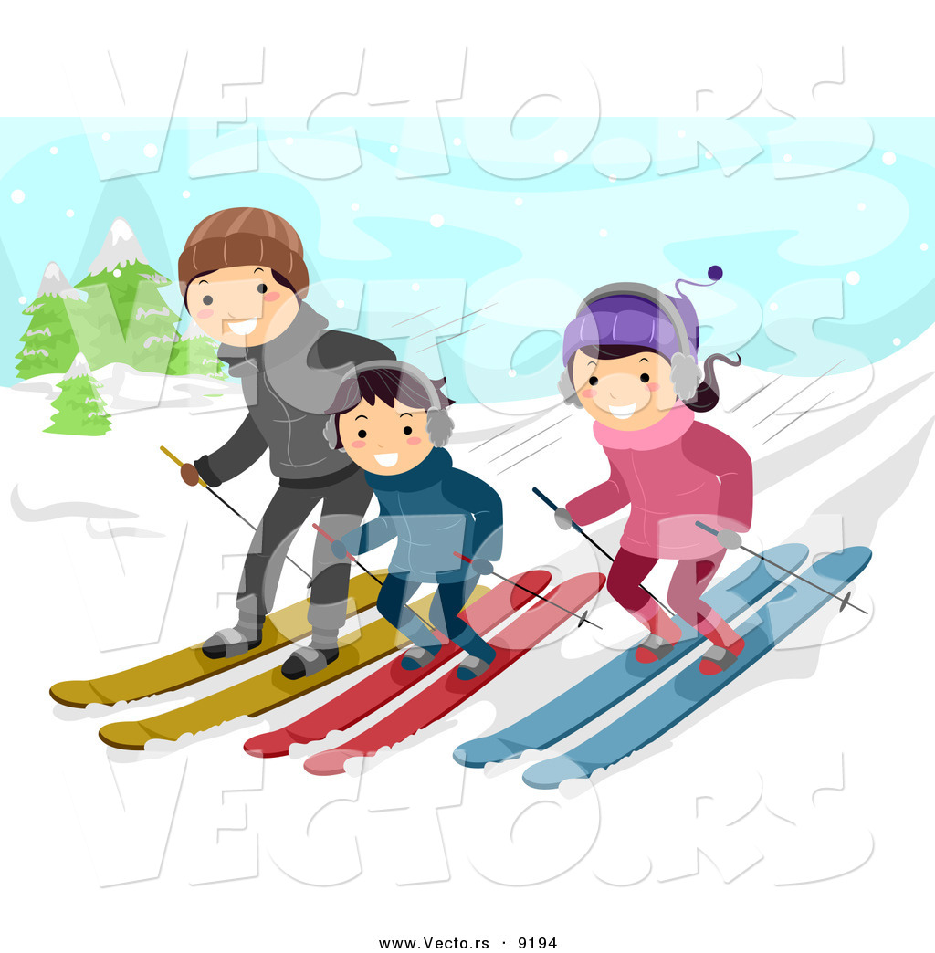 vector of a happy cartoon family snow skiing down a slope by bnp