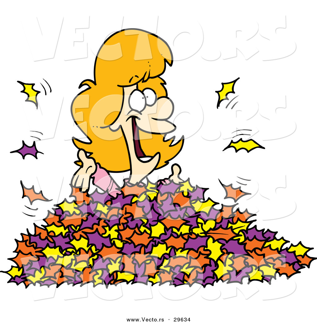 Vector Of A Happy Cartoon Girl Playing In Autumn Leaves By Toonaday 29634